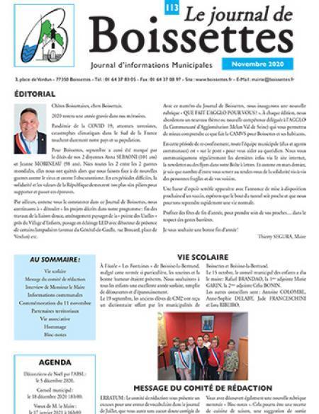 Couverture Journal de Boissettes N°113 - novembre 2020